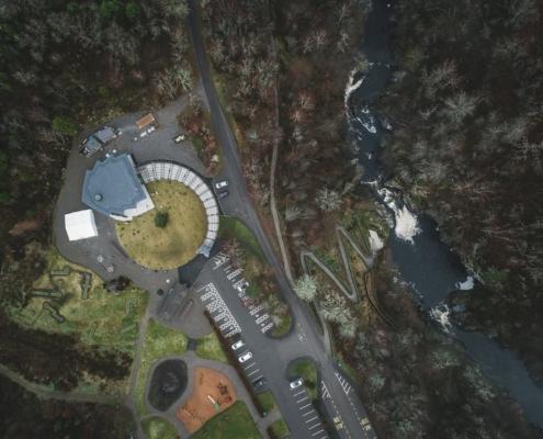 Aerial shot of Falls of Shin